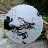 Cangzhou Oil Paper Umbrella Rainproof Sunscreen Classical Jiangnan Dance Cos Decoration Tung Oil Umbrella Men Ink Dragon