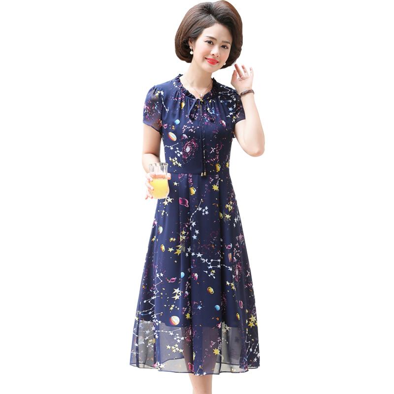 妈妈秋装长袖裙子2018新款40岁50中老年夏装四十岁女人过膝连衣裙