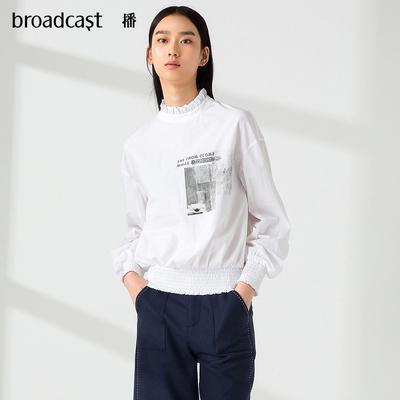 11播 2018秋季新品花苞领小上衣韩版时尚印花长袖衬衫女DDL3H514