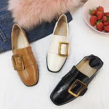 春秋季新款单鞋女英伦风低跟粗跟软妹韩版踩脚乐福鞋女方头小皮鞋