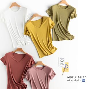 熱銷兩千件!兩件包郵巨顯瘦,免燙不縮水,V領圓領不易皺短袖T恤