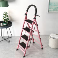 Herringbone ladder home folding space thickening indoor multi-function four-step five-step portable telescopic steel pipe ladder