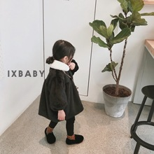 IXbaby Children's Wear Winter Girl's Long Ferret Plush Thick Coat Baby's Foreign Style Korean Edition Coat