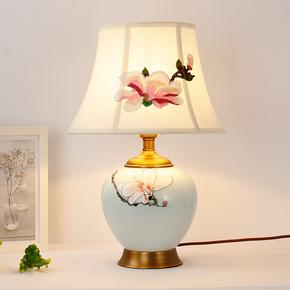 厂家直销现代中式全铜陶瓷台灯客厅卧室床头简欧美式乡村装饰灯具