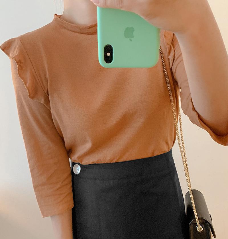 韩国大码秋装2019大码半高领荷叶边肩装饰弹力显瘦七分袖T恤特52