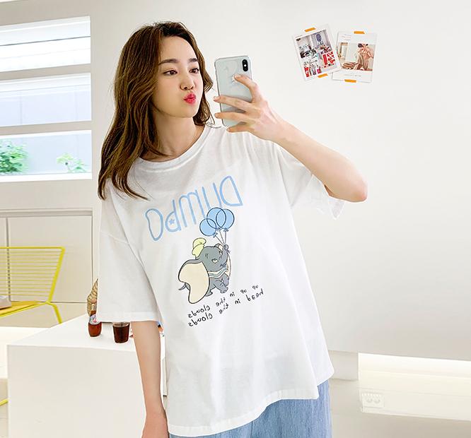 韩国大码夏装2019大码圆领字母气球小象装饰休闲可爱短袖T恤56