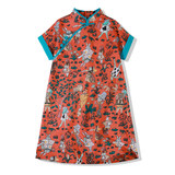 Ya Tong Shop Red Alice Fairy Girl Cotton Short Sleeve Cheongsam Dress Summer New Vintage Skirt