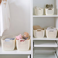 Home imitation rattan desktop storage basket plastic hollow storage basket kitchen snack storage box bathroom shower basket