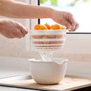 居家家日式双层沥水篮洗菜盆客厅水果盘家用小号塑料菜篮子洗菜篮