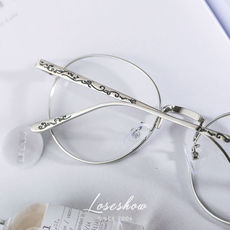 d9ecda5c08 Korean version of the retro metal frame glasses female tide literary round  face flat glasses frame