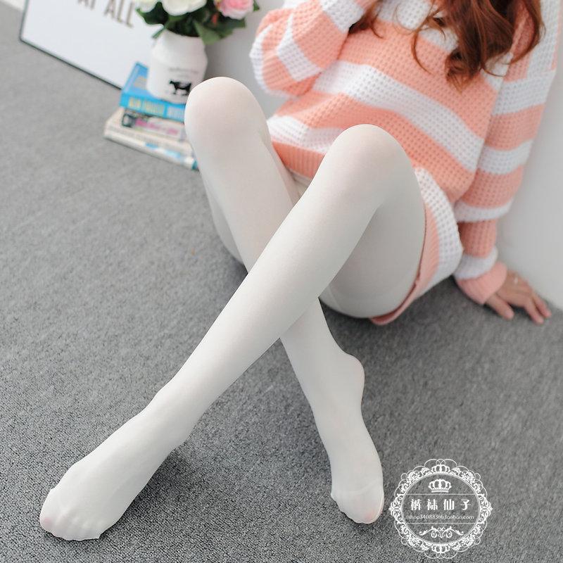日系白丝袜子天鹅绒连裤袜春秋季白色显瘦哑光打底袜女防勾成人