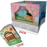 Full 68 包邮 2018 four season scene manual calendar 3D paper model parent-child manual labor DIY non-finished products