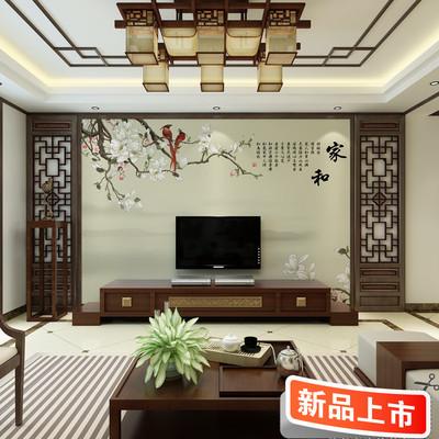 中式家和电视背景墙壁纸3d立体无缝客厅影视墙布古典花鸟墙纸壁画特价精选