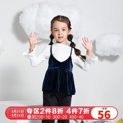 巴拉巴拉童装2019春秋新款女幼童长袖T恤舒适两件套21003170105