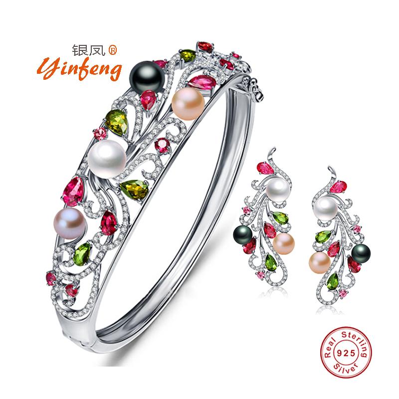 银凤首饰纯银天然珍珠首饰套装女项链耳环戒指三件套新娘首饰