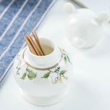 Colorful bone porcelain casual toothpick box tea restaurant hotel tableware germination bear ceramic toothpick cans to collect