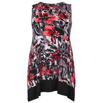 外贸欧美女装独特印花圆领无袖下摆不规则加大码连衣裙251025