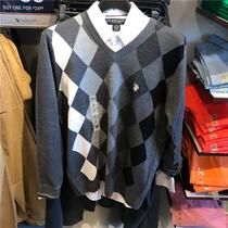 优代 U.S Polo Assn马球协会男士棱形格纹毛衣 美国正品