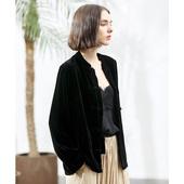 春秋季金丝绒短款 女士小外套女中国风立领黑色上衣洋气复古夹克衫图片