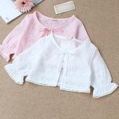 宝宝小披肩夏棉质薄款五分袖防晒儿童空调开衫公主坎肩女童短外搭