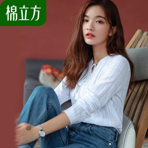 长袖T恤女韩范套头打底衫白色棉立方2018秋装新款女装宽松棉上衣