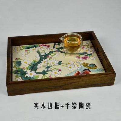 復古實木長方形托盤美式手繪櫻花陶瓷茶具茶盤木制茶水鑰匙盤歐式品牌資訊