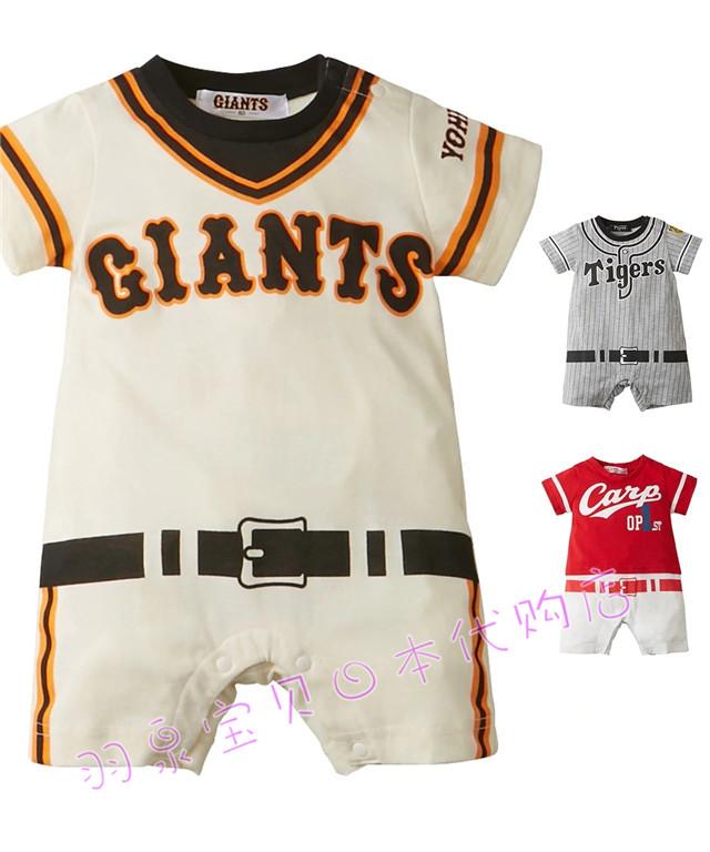 拼邮!日本nissen2019夏季小童职业棒球服图案短袖连体衣爬服