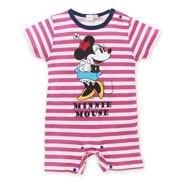 现货!日本童装Nissen夏女宝宝条纹粉色米妮可爱短袖连体衣