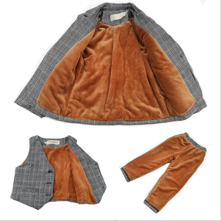 儿童西装套装男童小西服外套花童礼服男孩宝宝加绒演出三件套韩版