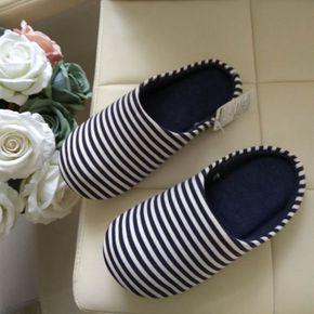秋冬新品超值男女情侣棉拖鞋冬居家家居地板地毯条纹软底月子鞋