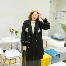 七彩霓裳早春胖mm呢子大衣时髦洋气韩版网红200斤大码毛呢外套女