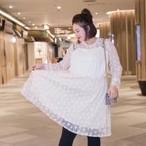 七彩霓裳大码女装连衣裙胖mm冬装2018新款蕾丝甜美显瘦胖妹妹裙子