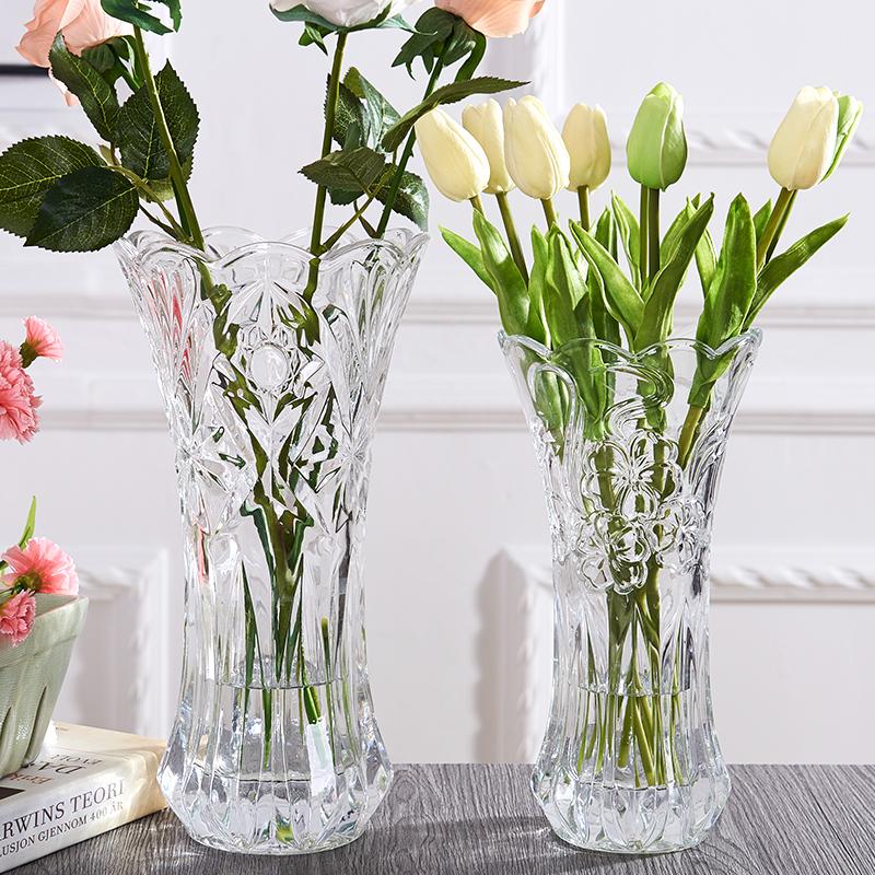 水養大號玻璃花瓶擺件家用客廳簡約現代透明插花干花水培富貴竹瓶