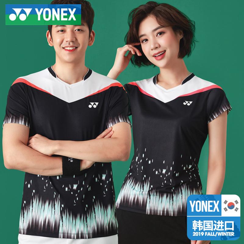 韩国正品尤尼克斯秋冬新款羽毛球服男女上衣T恤速干透气YY运动服