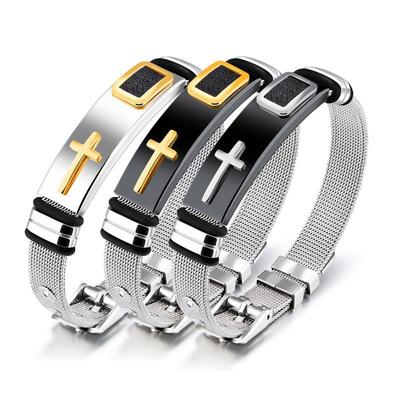 下一站传奇陈伟霆同款手链钛钢网带手链手环十字架可调节潮男手链