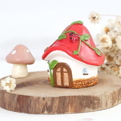 zakka创意可爱家居儿童房小蘑菇松果南瓜屋场景花盆装饰品小摆件