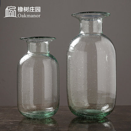 创意玻璃鲜花花瓶透明客厅插花摆件北欧简约ins家用富贵竹玻璃瓶