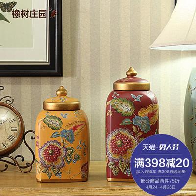 欧式陶瓷糖果罐储物罐摆件 美式创意家居客厅装饰品红色罐子用品