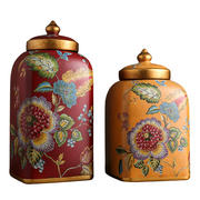 European ceramic candy jar storage tank ornaments American creative living room home decorations red porch ceramic pot