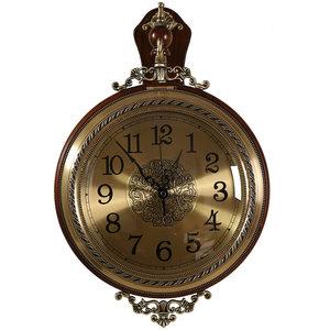 新古典丽声静音机芯钟表实木铜色双面挂钟 客厅卧室墙面装饰钟表