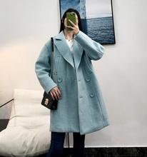 呢子大衣双排扣茧型时尚 中长款 外套C4801 地系列冬季2018新款 女装图片