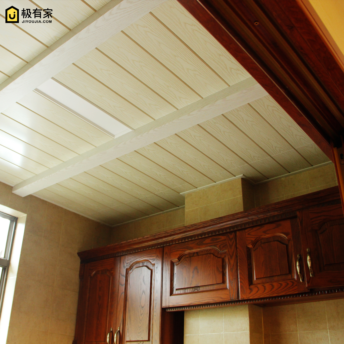 集成吊顶美式地中海厨房卫生间阳台过道吊顶专用木纹铝梁