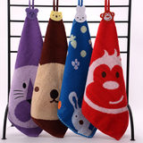 Cotton hook towel cartoon hanging large square towel kindergarten towel cotton parent-child gift children towel thickening