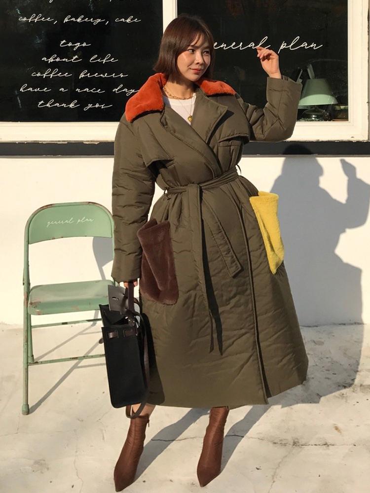 18FW冬 鬼鬼家 韩国代购 时尚撞色毛领 宽松系带大衣棉衣棉服外套
