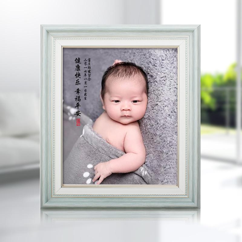 胎毛画猪狗年婴幼儿宝宝满月百天照片肖像胎发手工艺纪念礼品定制