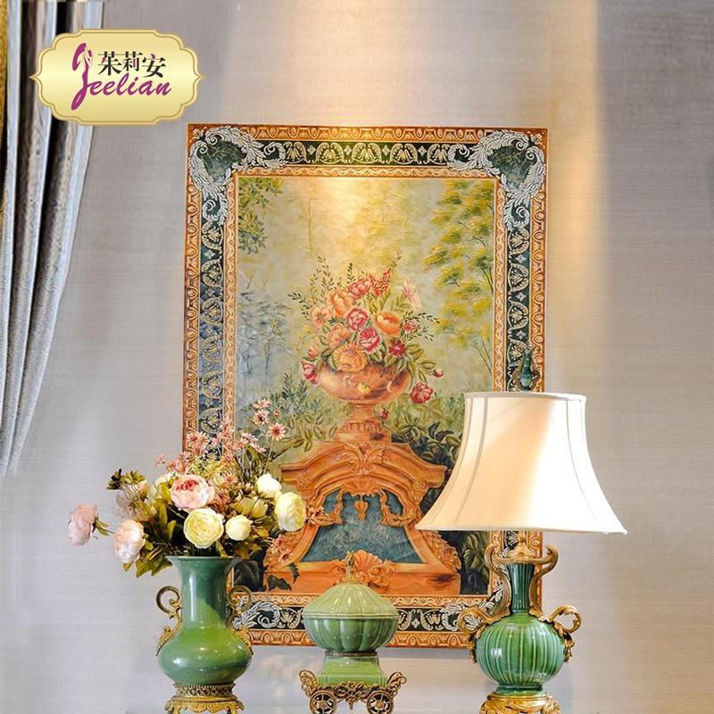 奢华欧式新古典手绘花瓶金绿色长方形挂画 别墅样板间1.3木版画