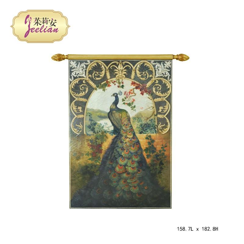 茱莉安欧式法式木板画孔雀图案挂轴彩色手绘油漆画