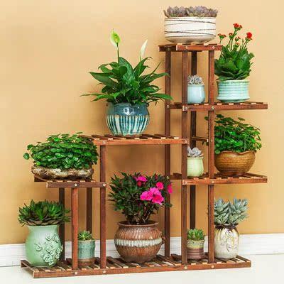阳台折叠梯形多层实木养花架子露养花草架子花卉置物架地中海花架排行