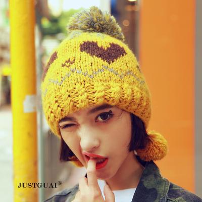 文艺复古清新韩国手工针织保暖毛线帽男女秋冬加厚大球球帽子新品