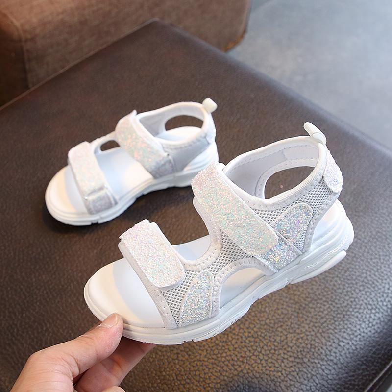 女童凉鞋2019夏季新款韩版女孩防滑亮片沙滩鞋中大童学生休闲凉鞋